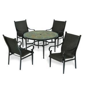 Hampton Bay Kennett 5 Piece Patio Set with Round Slate Table