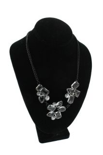 Kenneth Jay Lane NEW Black Chain Crystal Cluster Necklace One Size