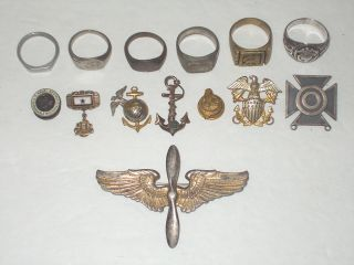 Military Lot Some Sterling U s Navy WWII Rings and Insignias Pilots