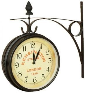 London Kensington Train Station Double Sided Wall Clock Large