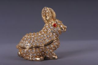 Faberge Rabbit trinket box by Keren Kopal Swarovski Crystal Jewelry