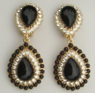 KJL Kenneth J Lane Sim Black Onyx Crystal Provencial Clip Earrings