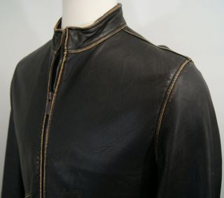 Kenneth Cole Reaction Racer Distressed Leather Motorcycle Jacket Mens