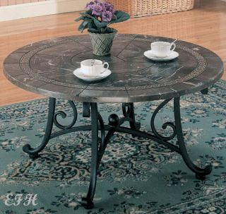 New Kerens Marble Veneer Black Metal Round Coffee Table