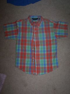 NWOTS George Multi Plaid Button Front Dress Shirt Boys Size 4 5 XS