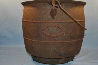 Antique Tri Footed Cast Iron Kettle Cauldron JMB Davidson & Co ** NR