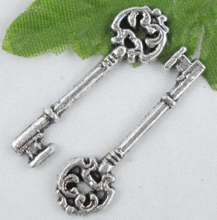 60pcs Tibetan Silver Key Charms Pendants 30x9mm