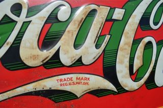 Vintage 33 Coca Cola Soda Drink Sign Green Shadow Bottle Xmas Bottle