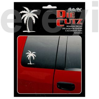 WHITE PALMTREE WINDOW DECAL Car Auto Truck Tropical Island Paradise