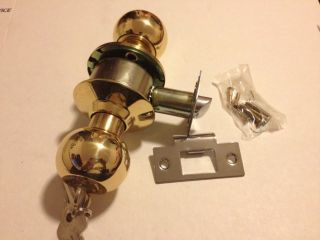 brass finish keyed door lock Set, Door Knob, Good For Entry Door Or