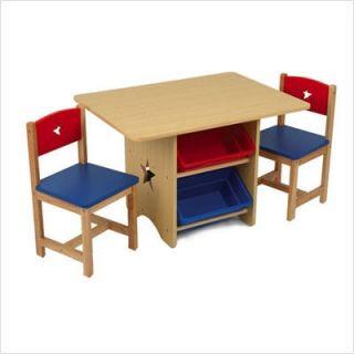 KidKraft Star Childrens Table Chair Set w 4 Storage Bins 2 Chairs Red