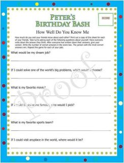 Kids Teen Birthday Party Games How Well do You Know Me Ice Breaker