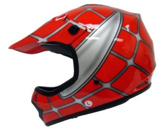 Youth Red Spider Net Dirt Bike ATV Motocross Helmet M