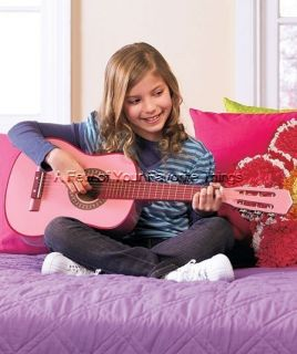 KIDS PINK GENUINE WOOD ACOUSTIC GUITAR W CARRYING CASE GREAT VALUE FOR