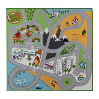 New IKEA Kids Play Mat Rug Cars Road Multicolor