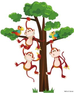 Jungle Monkeys Boys Kids Nursery Wall Sticker Decals