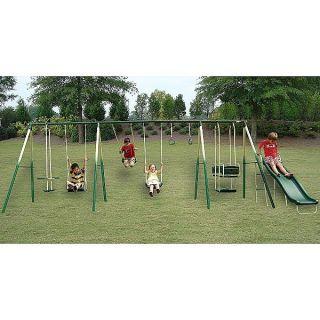 Kids Adventure Play 8 Leg Outdoor Metal Swing Set Steel Swingset Play