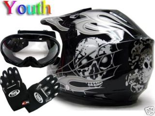 Youth Kids ATV Motocross Dirt Bike MX Black Skull Helmet w Goggles