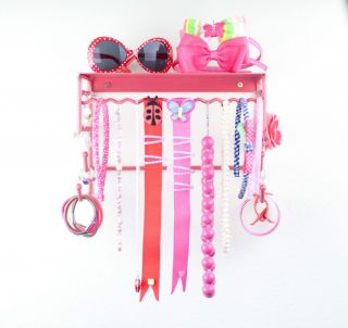 Hair Accessory Holder and Jewelry Organizer Pink