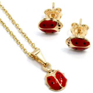 Gold 18K GF Necklace Pendant Earrings Girl Kids Red Enamel Fun