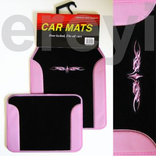 BLACK PINK TRIBAL FLOOR MATS Carpet Vinyl Car Auto Truck Sexy Sleek