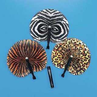 12 SAFARI JUNGLE FANS Leopard Tiger Zebra Print Dozen Kids Birthday