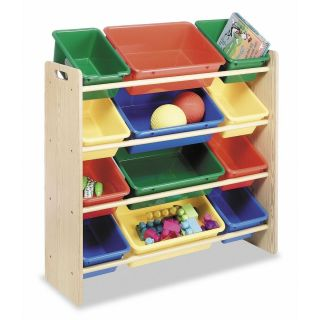 Organizer 12 Bin Toy Storage Organizer Wood Frame Kids Furniture New
