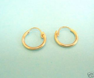 14k Real Yellow Gold Baby Childrens Kids Hoops U Wire 10mm Tubular New