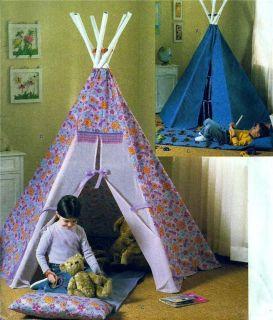 Kids Tepee Playhouse Tent Mat Boys Girls Butterick Sewing Pattern 4251