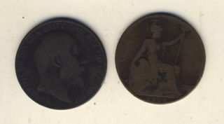 King Edward VII 2 x 1 Penny Coins from 1907 and 1908