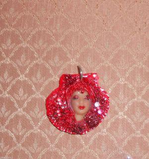 fantasy art handmade OOAK RED LUST GLITTER mermaid scallop shell