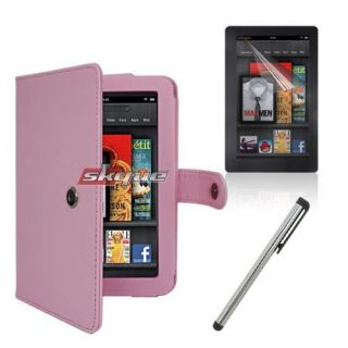 For  Kindle Fire 2 Leather Case Cover 3 Item Accessory Pack 7in
