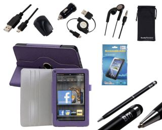 Bundle Monster 9in1 Kindle Fire Accessory Kit Combo Cover Chargers