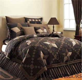Farmhouse Black Tan Star Cal King Oversize Cotton Quilt