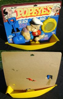 Kings Features 1980 Popeye Beach Boat Sand Toy on Card