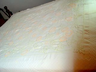 textured cotton/ linen coverlet bedspread, hand stitched patent cameo