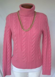 KINROSS Womens Sz M 100% CASHMERE Cable Knit Turtleneck Rose Pink SOFT
