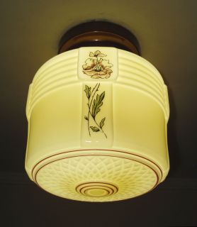 1930s Vintage Art Deco Custard Glass Kitchen Ceiling Light Fixture