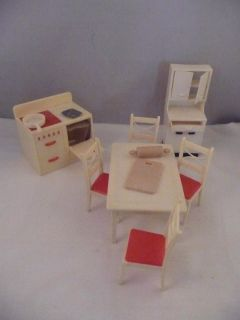 Vintage Renwal Dollhouse Miniature Kitchen Furniture Chairs Table Oven