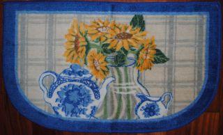 Teapot Rug Yellow Sunflower Country Plaid Kitchen Bath Slice Mat NEW