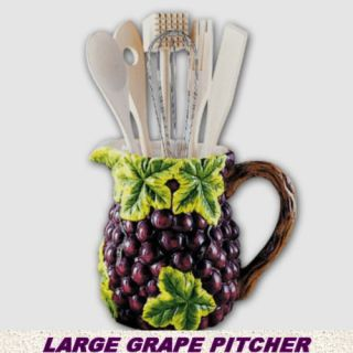 Purple Grapes Large Pitcher w Kitchen Utensils 4 Countertop