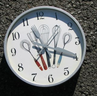 Kitchen Wall CLOCK Battery Round Metal Bournville Fork Knife Wisk