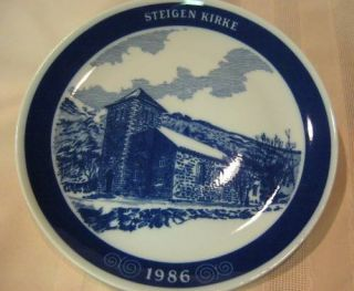 Millhouse Porcelain Plate Norway Steigen Kirke Church 8 Blue White