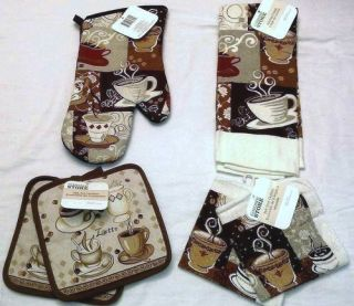 COFFEE THEME HOME KITCHEN TOWEL OVEN MITT DISHRAG POT HOLDER INTERIOR