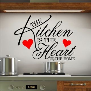 Wall Art Sticker Quote Kitchen Heart Home Dining Room Large Wallpaper