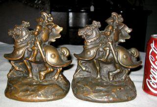 ARMOR BRONZE KNIGHT ON HORSE WAR WARRIOR ART STATUE SCULPTURE BOOKENDS