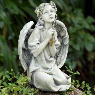 Praying Angel Cherub w Cross Crucifix Garden Koi Pond Gazebo Statue