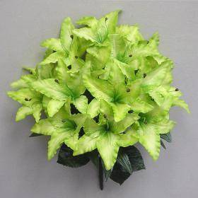22 Kiwi Green Silk Satin Lily Bush Artificial Flowers Plants