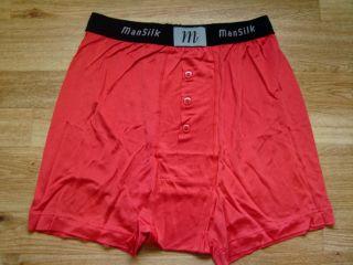 Mens Mansilk 100 Silk Knit Boxer Brief Red Semi Sheer