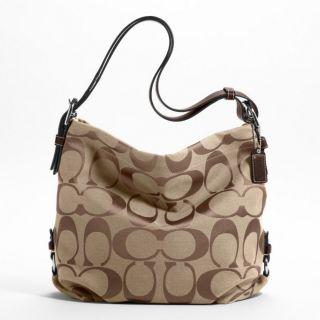 Coach 24 CM Khaki Signature Duffle Crossbody Shoulder Bag Purse 21023